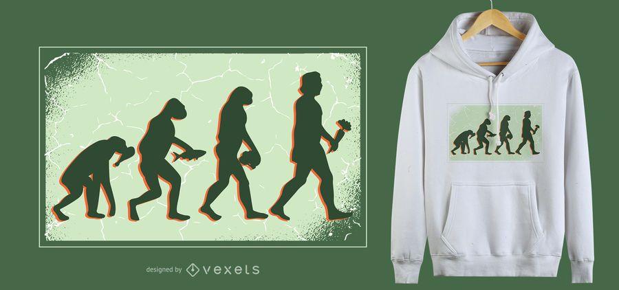 Projeto do t-shirt da evolução do Vegan
