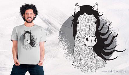 Mandala-Pferdet-shirt-Entwurf