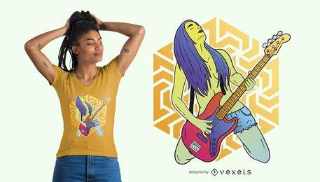 Design de camiseta de baixista trippy