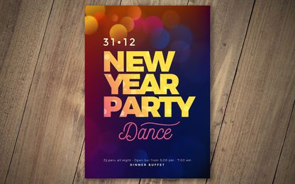 Diseño de letras de año nuevo de Bokeh ligero
