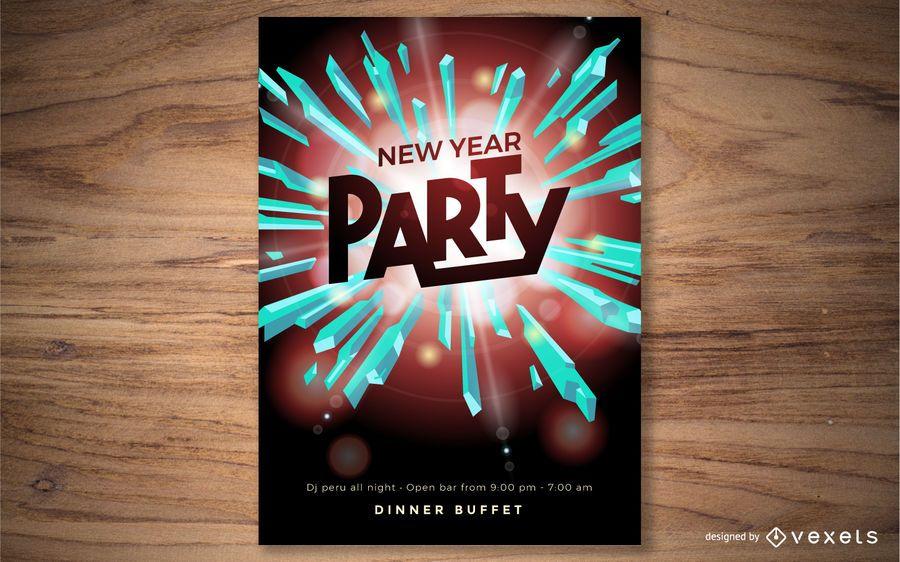 Diseño de cartel de fiesta año nuevo