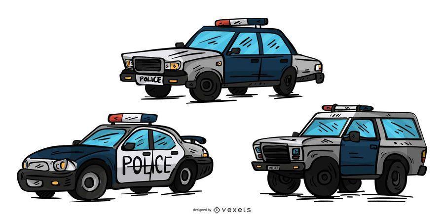 Conjunto de ilustração de carros de polícia