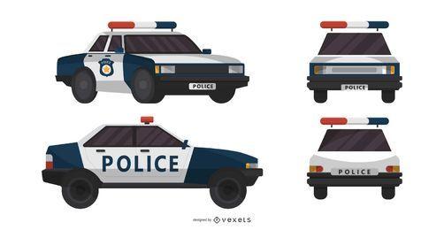 Ilustração de diferentes vistas de carro de polícia