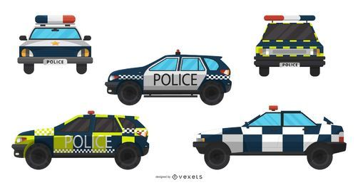 Colección de ilustración de coches de policía