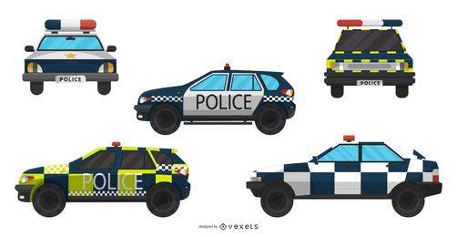 Colección de ilustraciones de coches de policía