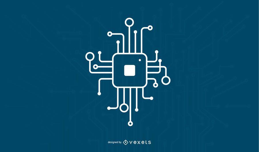 Digital chip icon design