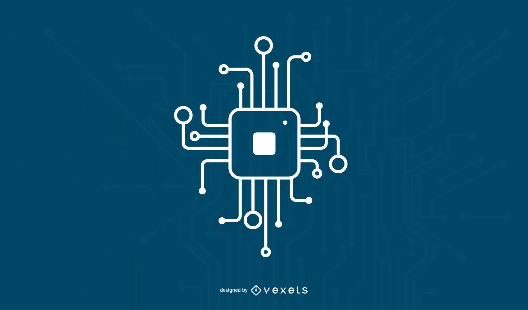 Diseño de icono de chip digital