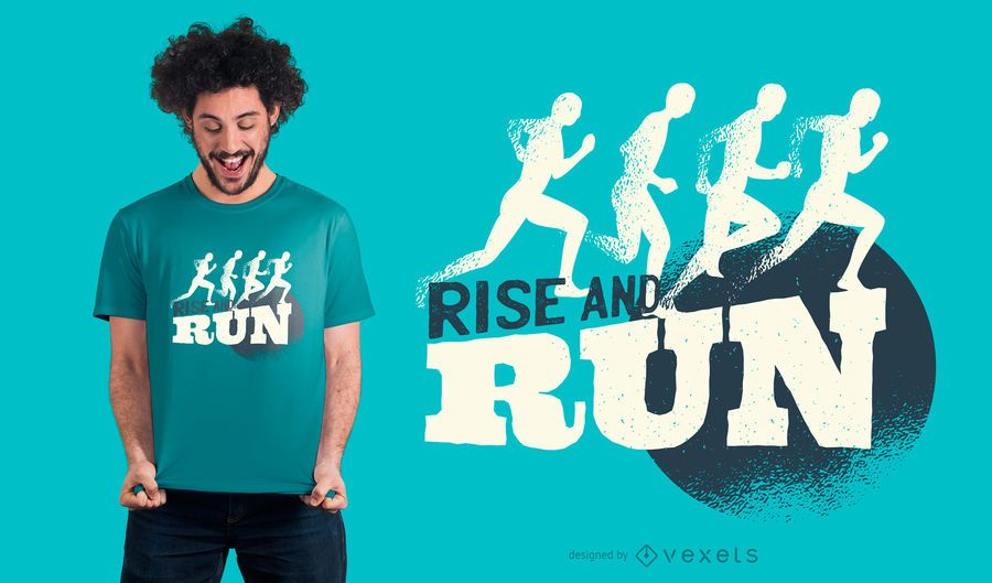 Levante-se e corra o projeto do t-shirt