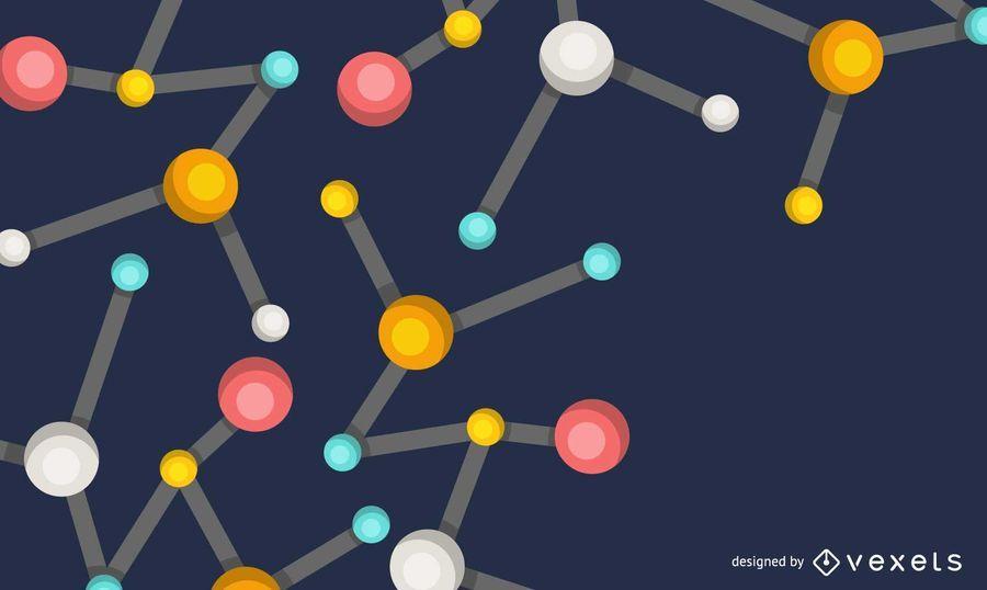 Fundo de moléculas coloridas