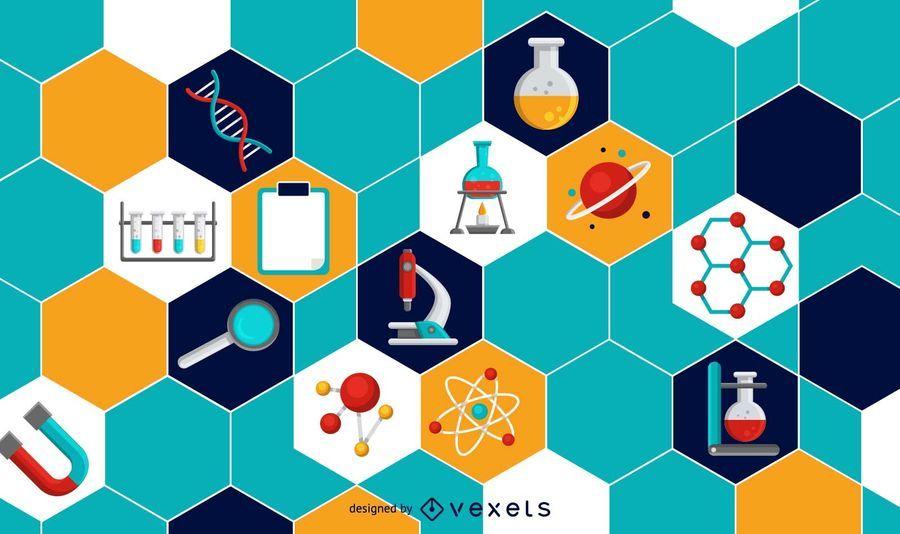 Elementos científicos de diseño de fondo.
