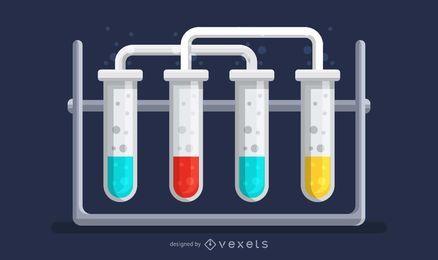 Ilustração científica dos tubos de ensaio