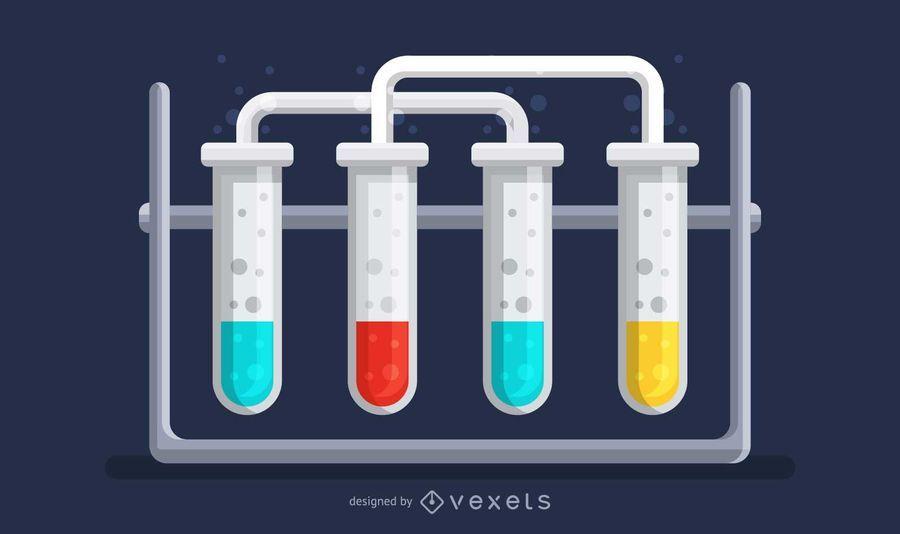 Ilustración científica de tubos de ensayo