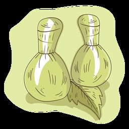 Ilustración de hoja de hierba de aroma de bolsa