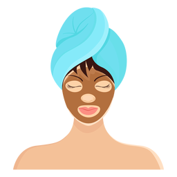 Brunette mask fringe towel illustration