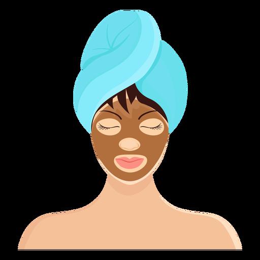 Brunette mask fringe towel illustration