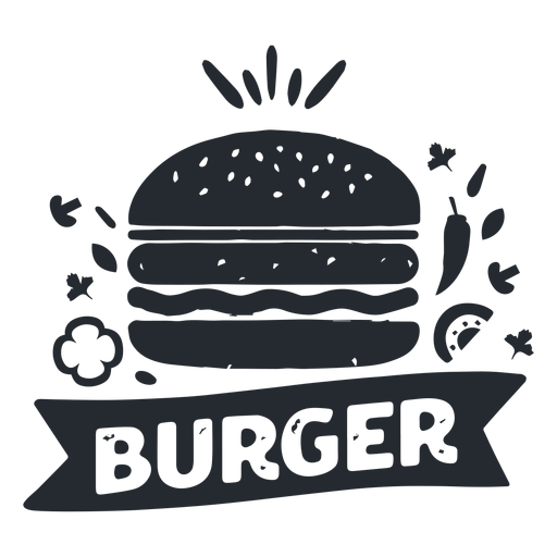 Burger food logo logotype silhouette Transparent PNG