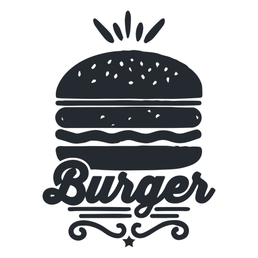 Burger logo food logotype silhouette Transparent PNG