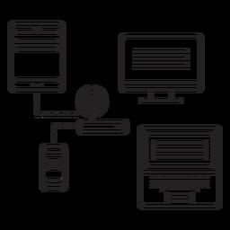 Computador, tabuleta, roteador, telefone, caderno, acidente vascular cerebral