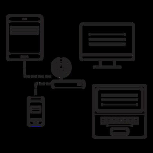 Ordenador tableta enrutador teléfono portátil trazo Transparent PNG