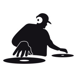 Dj cartoon silhouette