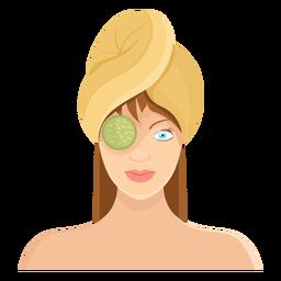 Ilustración de toalla de máscara de pepino de cara