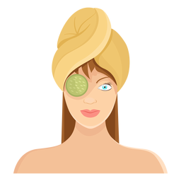 Rosto, pepino, máscara, toalha, ilustração