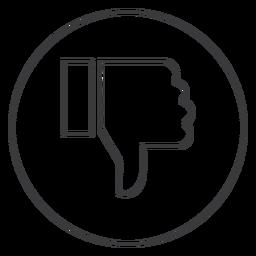 Icono de signo de pulgar de disgusto de mano