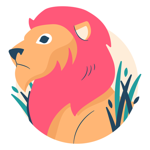 Illustrated lion flat Transparent PNG