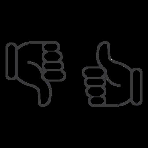 Gostei ok não gostei ícone de par de polegar