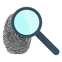 Magnifying glass loupe fingerprint illustration