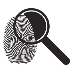 Magnifying glass loupe fingerprint silhouette