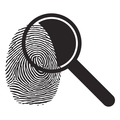 Magnifying glass loupe fingerprint silhouette Transparent PNG