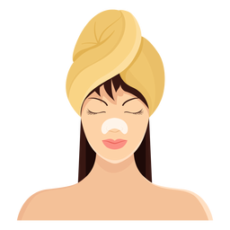 Mask fringe brown haired towel illustration