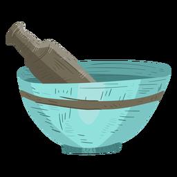 Ilustração de pó de pilão de argamassa