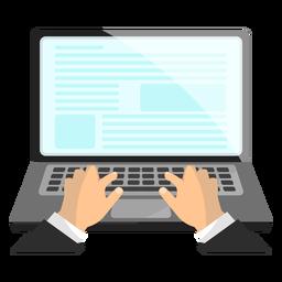Ilustração de mão de laptop notebook