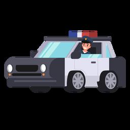 Ilustração de policial de carro de polícia