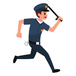 Policeman chase illustration