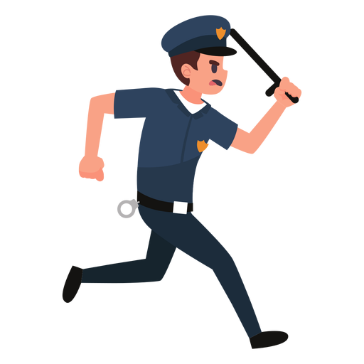 Policeman chase illustration Transparent PNG