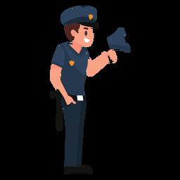 Ilustración de policía megáfono