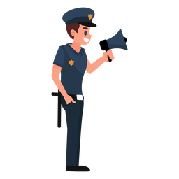 Policeman megaphone illustration