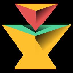 Pirámide triángulo 3d ápice plana