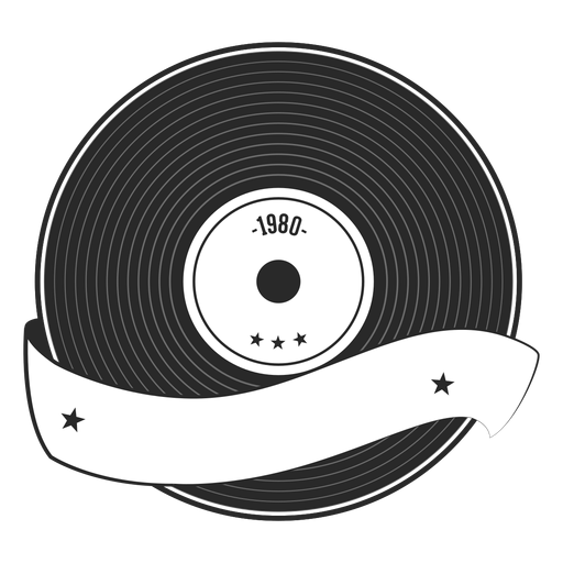 Record year vinyl silhouette Transparent PNG
