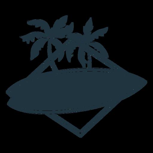 Surfboard palm illustration