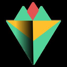 Triángulo 3d pirámide ápice plana