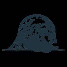 Esboço de mar de ondas