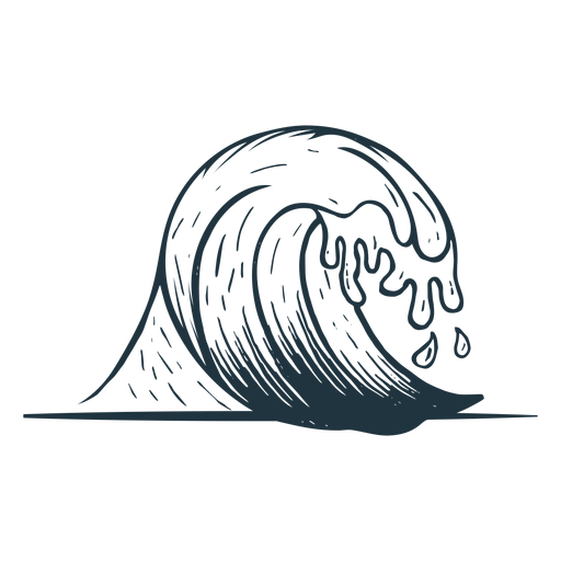 Wave sea sketch Transparent PNG