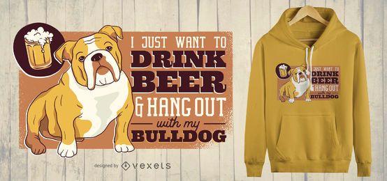 Diseño de camiseta de cerveza y bulldog