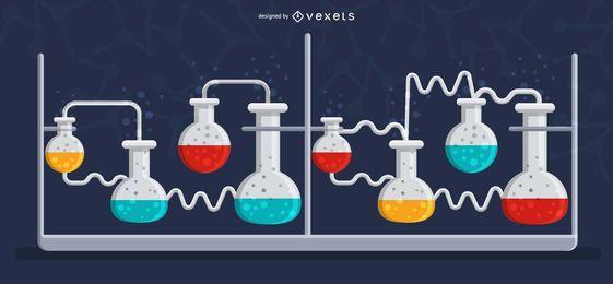 Ilustración de matraz de bombilla de laboratorio