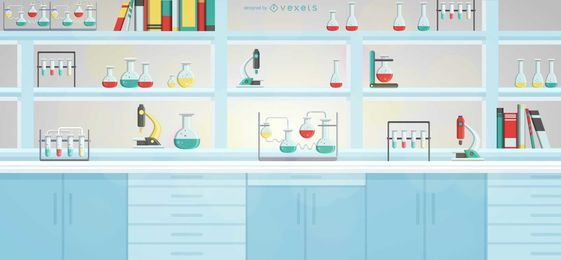 Ilustração de prateleira de equipamentos de laboratório