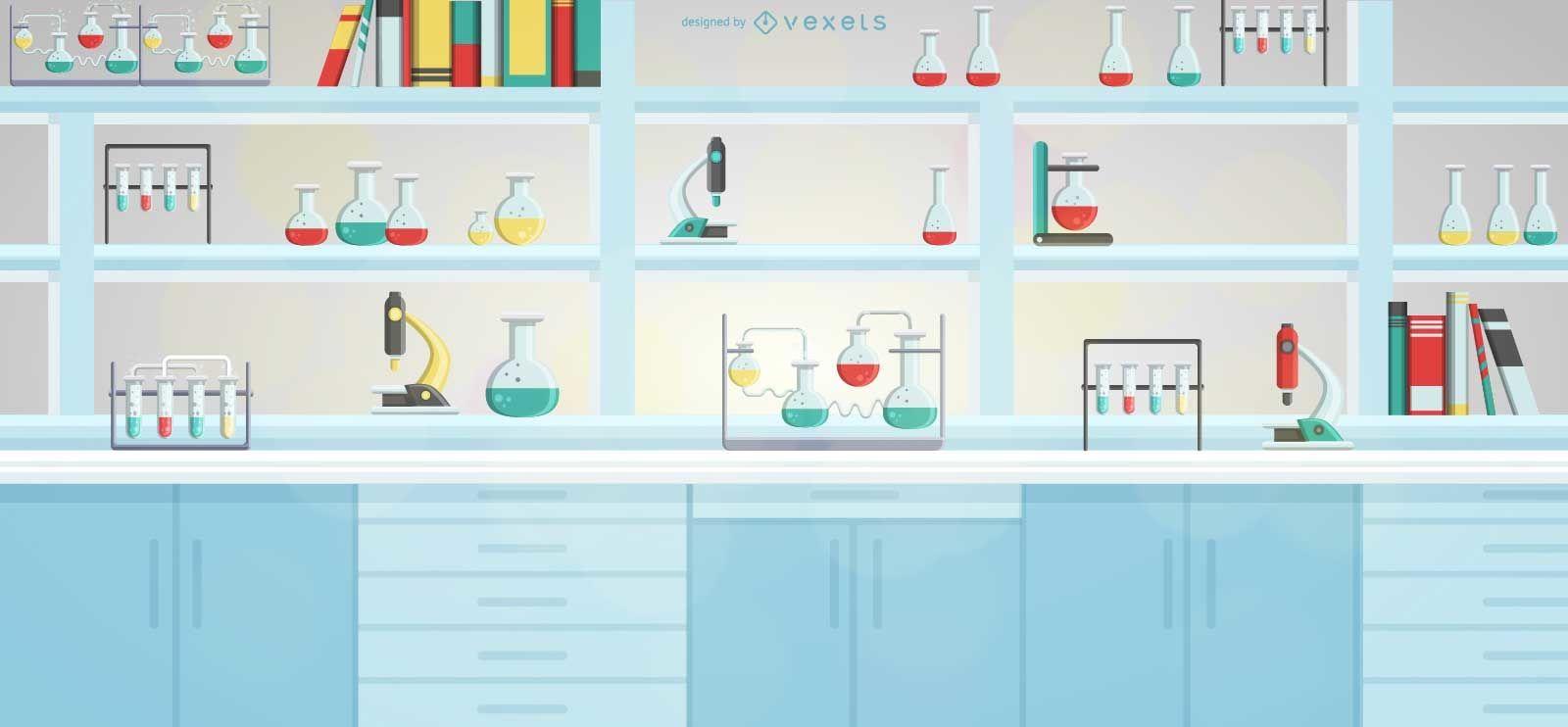 Ilustración de estante de equipo de laboratorio